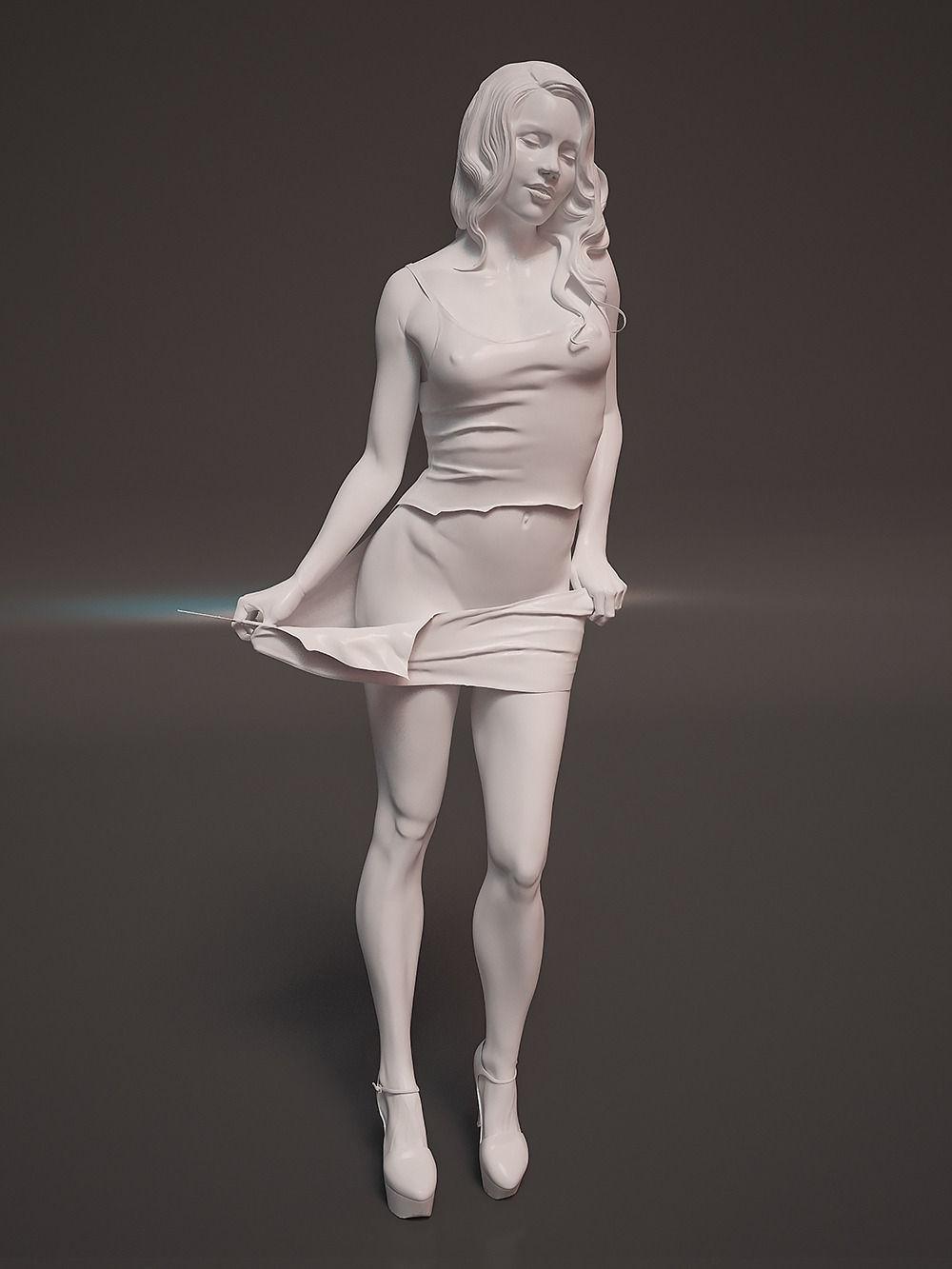Hd Great White Shark Wallpaper Sculpture Girl 3d Model 3d Printable Stl Cgtrader Com