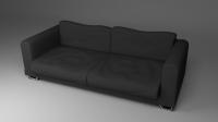 Black Fabric Couch Sofa 3D Model .obj .fbx .blend .dae ...