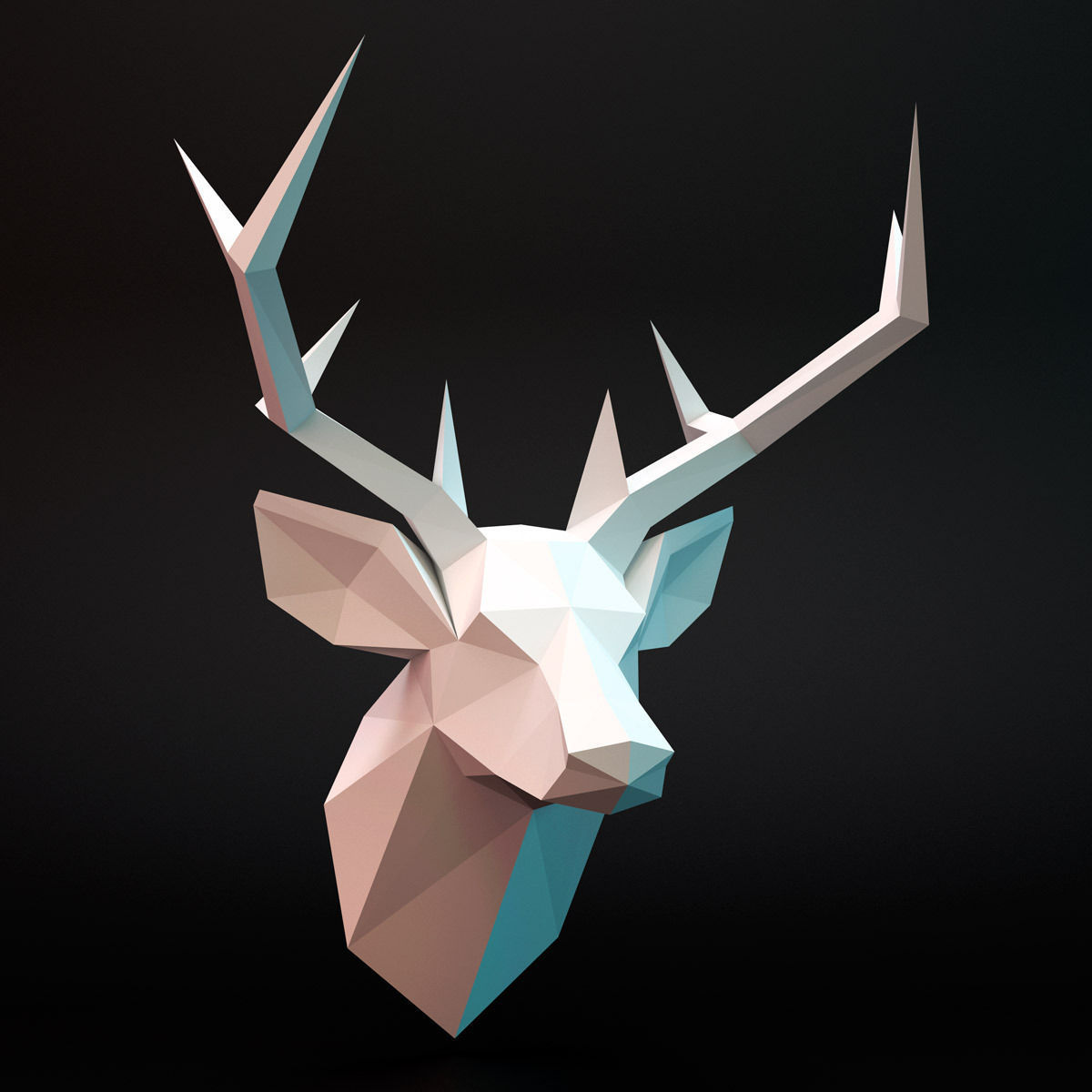 Animated Christmas Wallpaper For Iphone Deer Head Low Poly 3d Model Game Ready Max Fbx