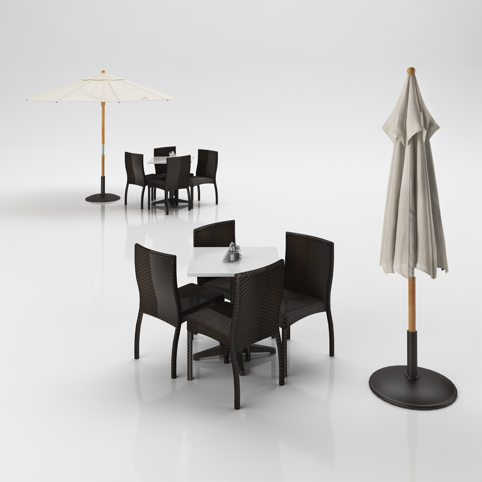 Rattan Table Rattan Chairs Set With Table And Outdoor Umbrella 3d Model