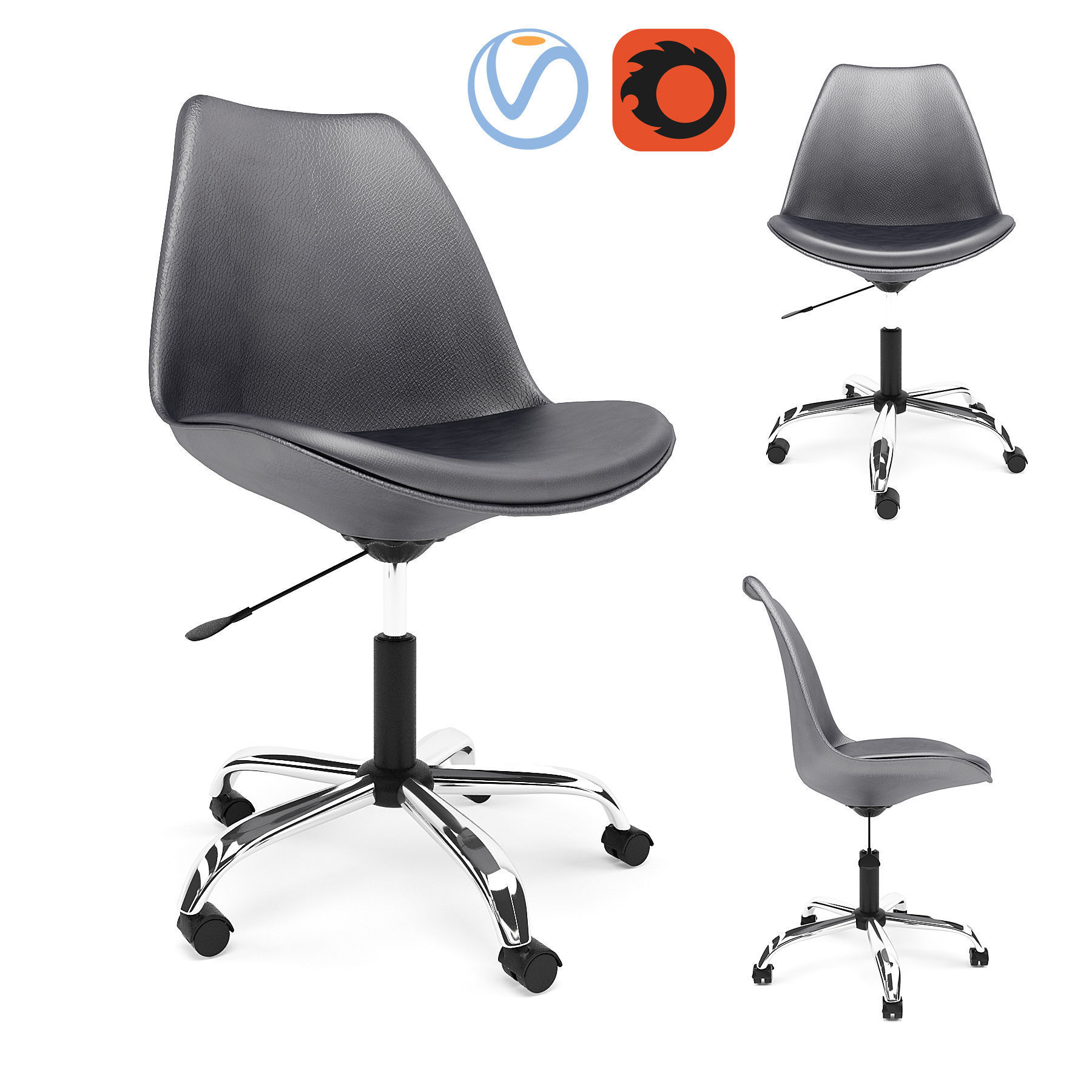 Desk Seat Hodedah Black Armless Swivel Office Desk Chair With Cushion Seat 3d Model