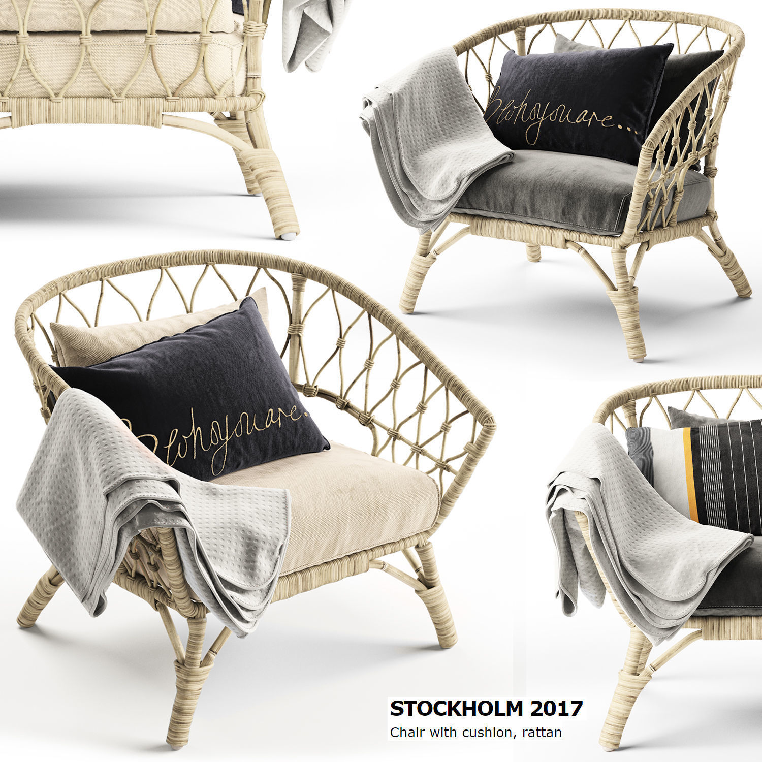 Rattan Ikea Chair Stockholm 2017 Ikea 3d Model