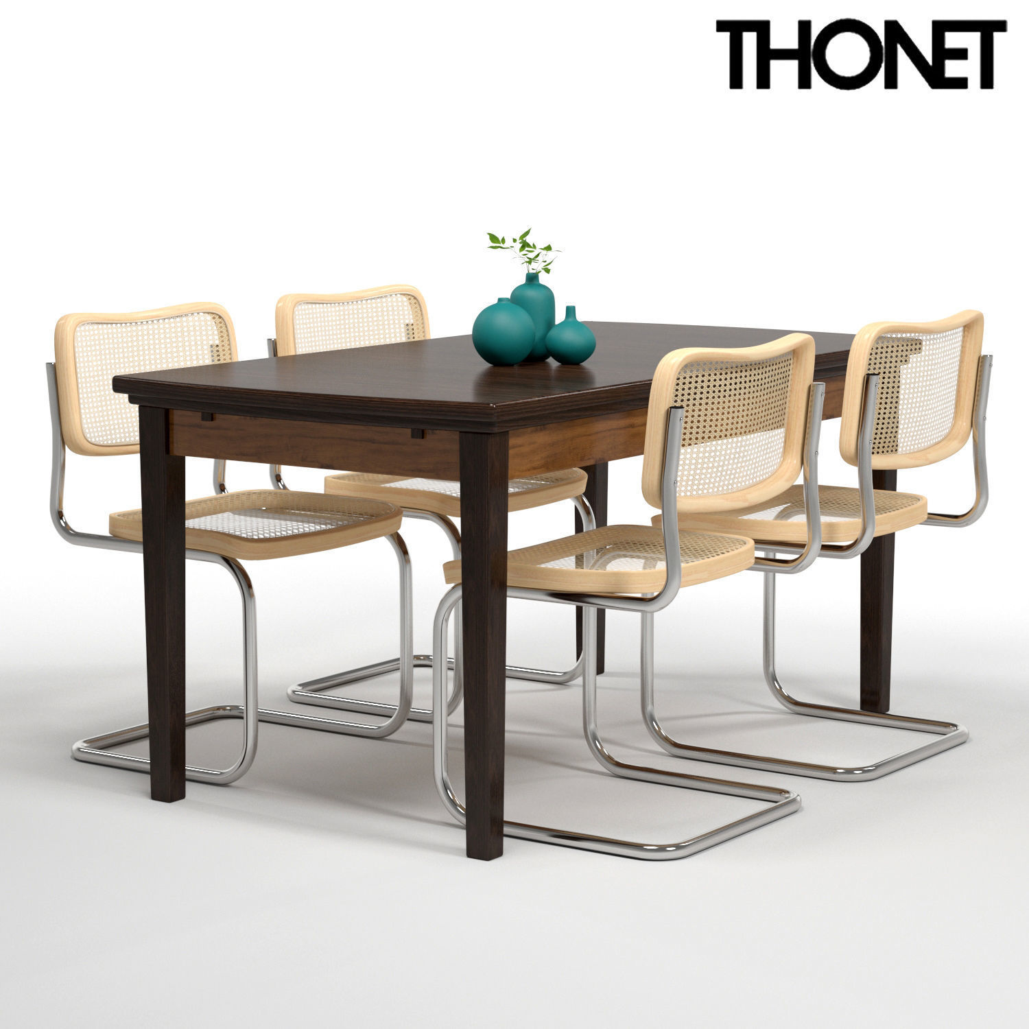 Thonet S32 Thonet Chair S32 Wood Table 3d Model