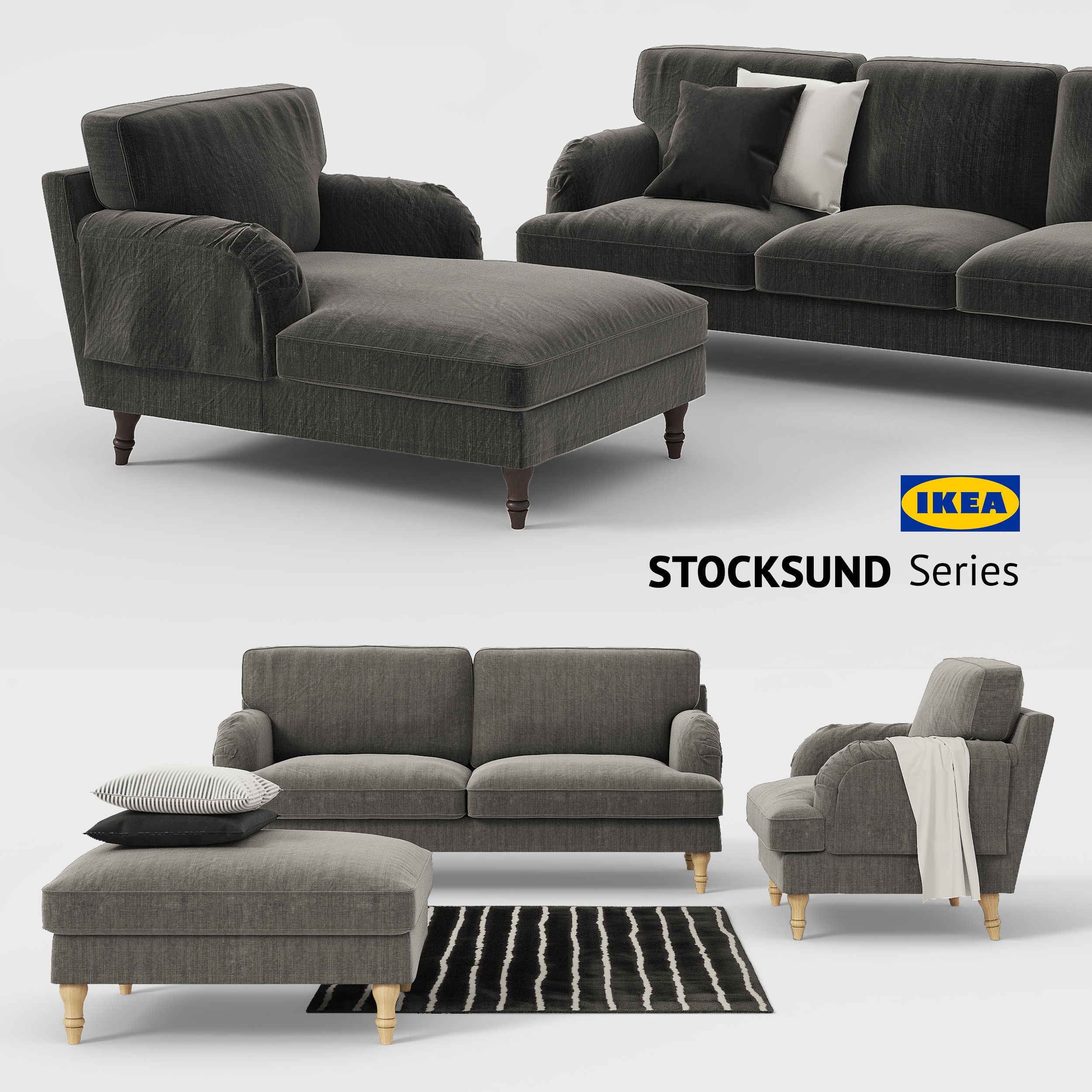 Couch Ikea Ikea Stocksund Sofa Chair Ottoman Chaise Sofa Cover 3d Model