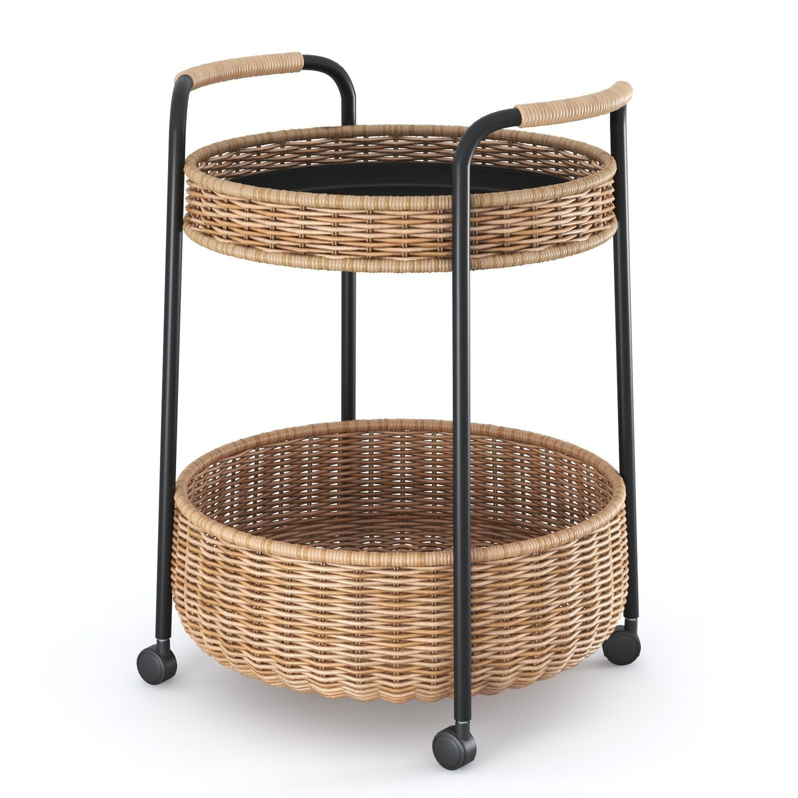 Rattan Ikea Lubban Serving Cart With Storage Rattan Anthracite By Ikea 3d Model