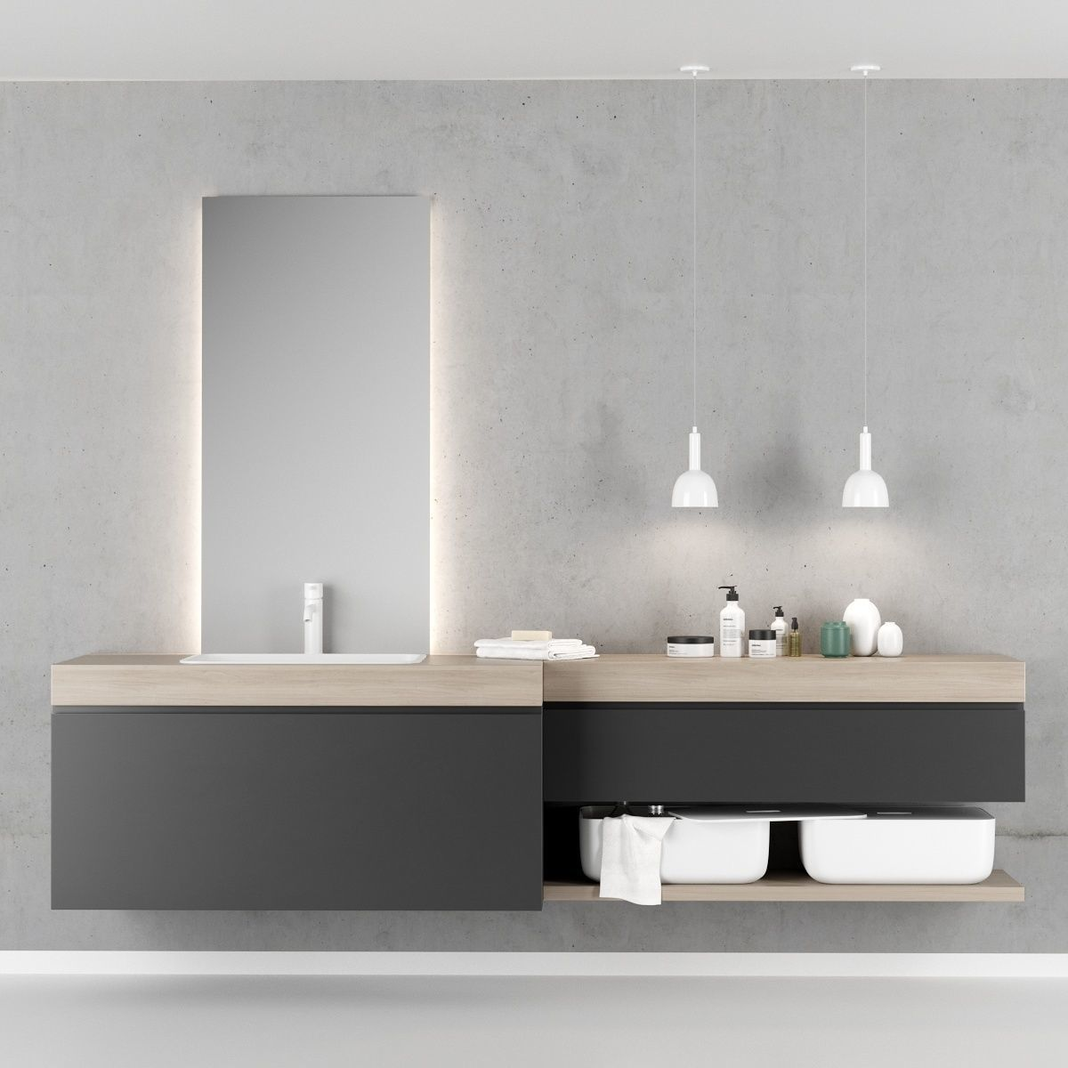 Scavolini QI Bathroom furniture set 2 3D model | CGTrader