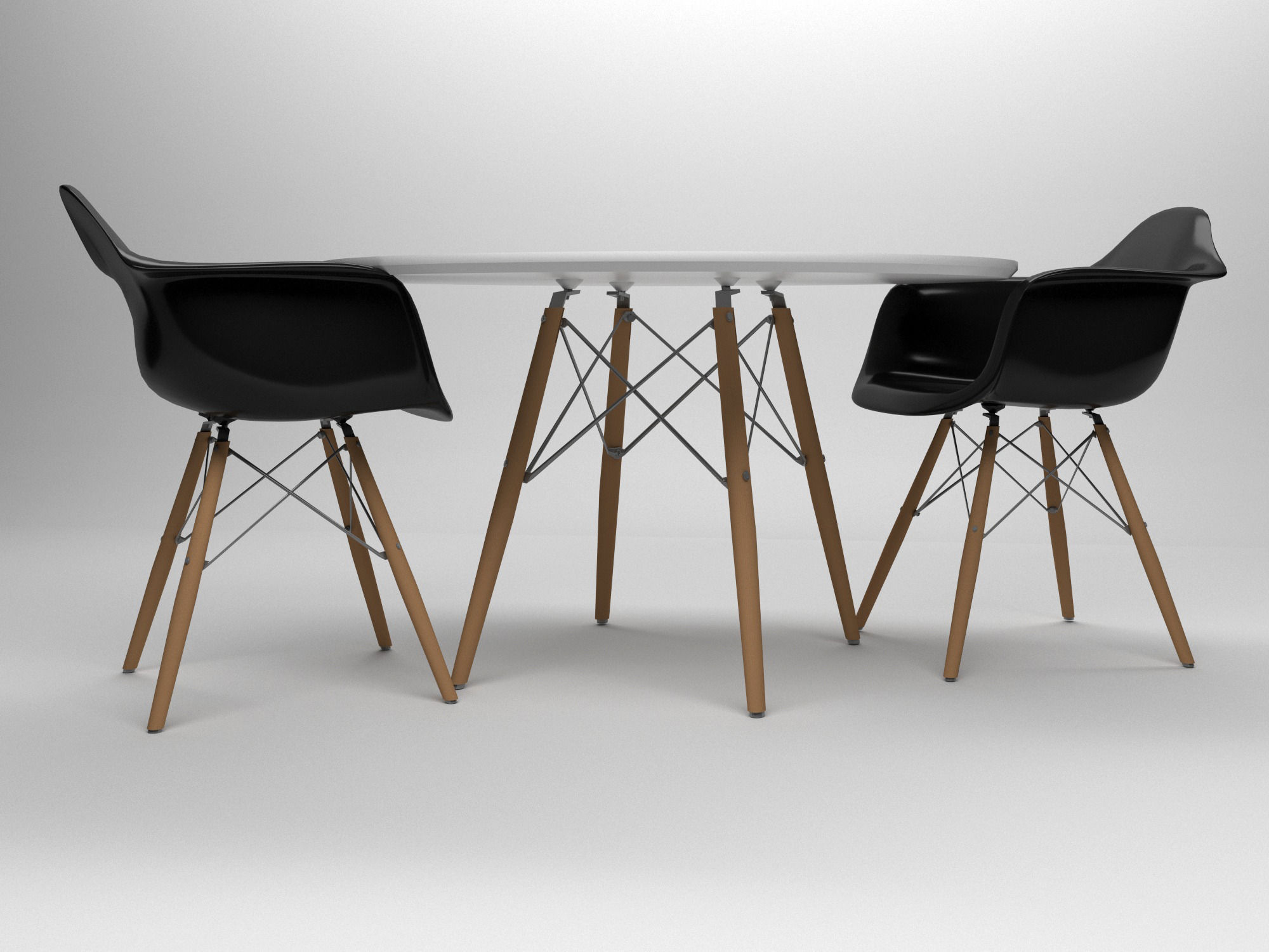 Max A Table Eames Table And Chairs Set 3d Model Max Obj 3ds Fbx