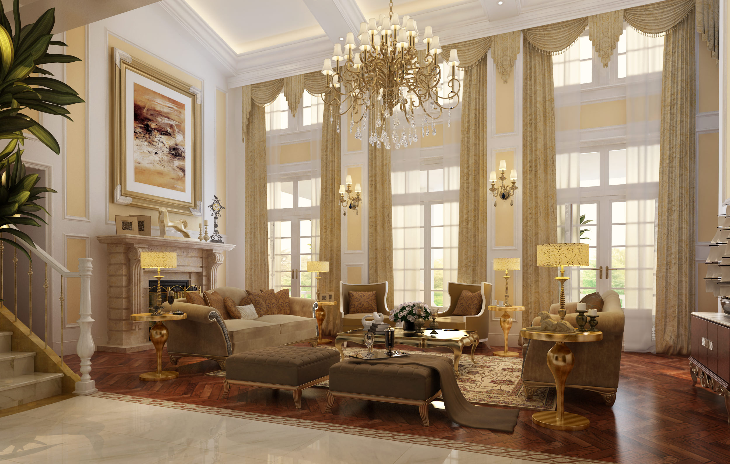 Luxury living room with fireplace 3D Model .max
