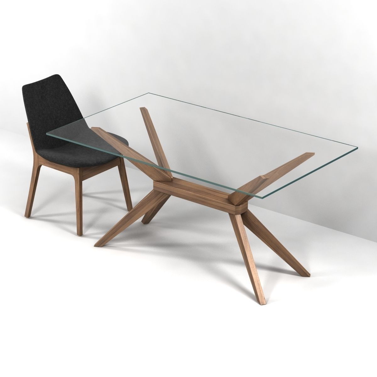Glass Dining Table And Chairs Magna Glass Dining Table By Inmod Sohoconcept Eiffel Wood Chair 3d Model