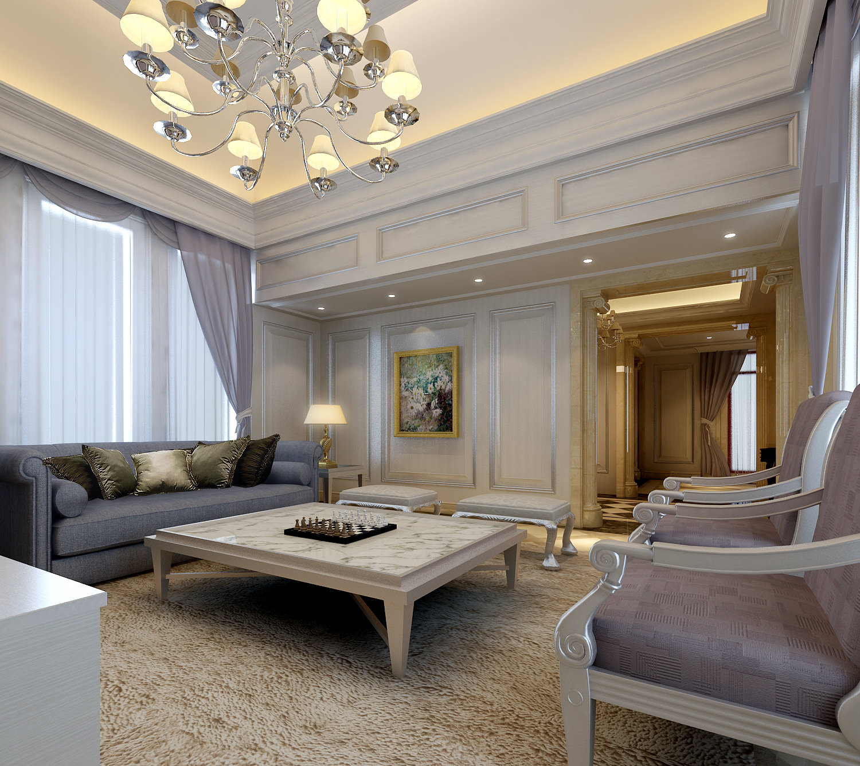 Fancy Living Room 3D Model .max