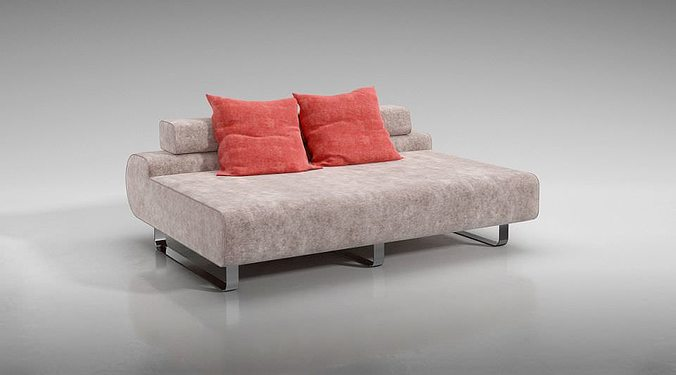 Modern Low Back Sofa With Red Throw Pillows 3d Model Obj Mtl