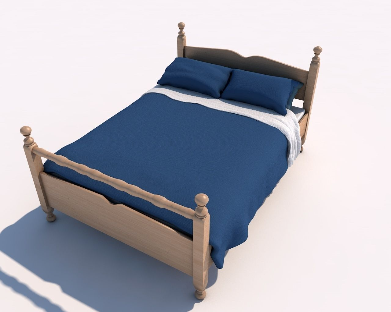 Simple Bed Simple Bed Blankets 3d Model Cgtrader
