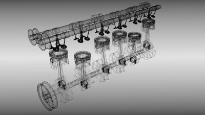 Animated six cylinder engine 3D Model .fbx .blend ...