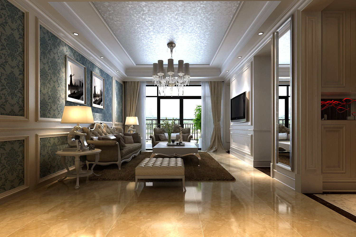 Marble Floors Living Room Modern Living Room With Marble Floor And A 3d Model