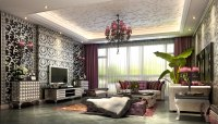 Fancy Living Room With Luxurious Wallpapers 3D Model .max