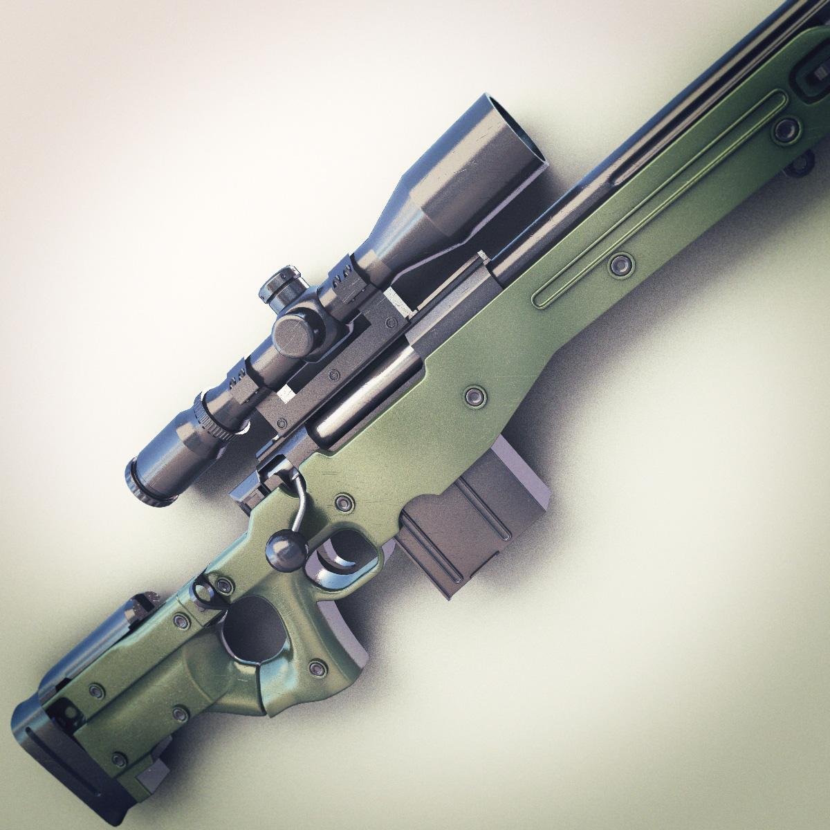 Girl In Action Wallpaper Awm Sniper Rifle Hi Res 3d Model Max Obj Fbx Lwo Lw