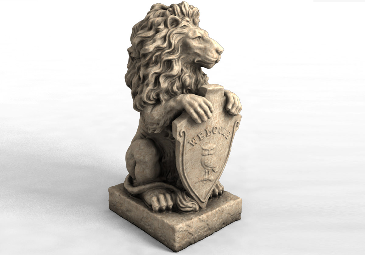 Welcome Statues Garden 3d Models Garden Statue Lion With Welcome Sign 3d Print Model