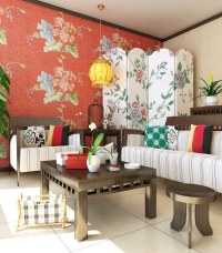 Living Room with Floral Design Walls 3D Model .max ...