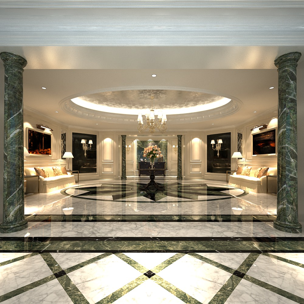Luxury Lobby With Marble Floor 3d Model Max Cgtradercom