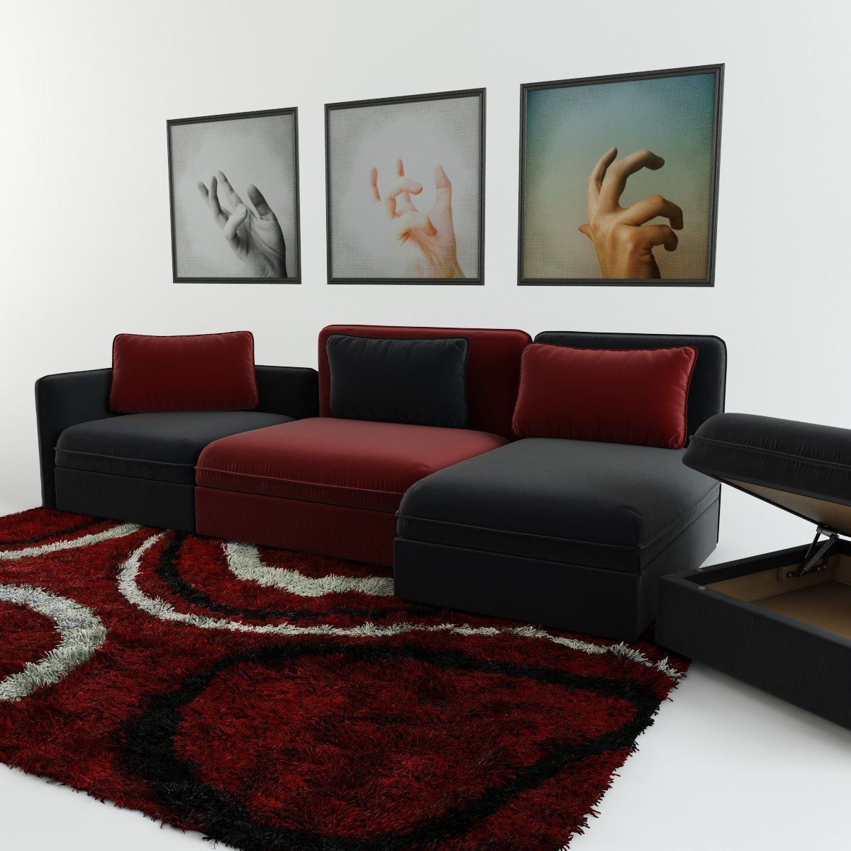 Sofa Module Modular Sofa Carpet And Triptych 3d Model