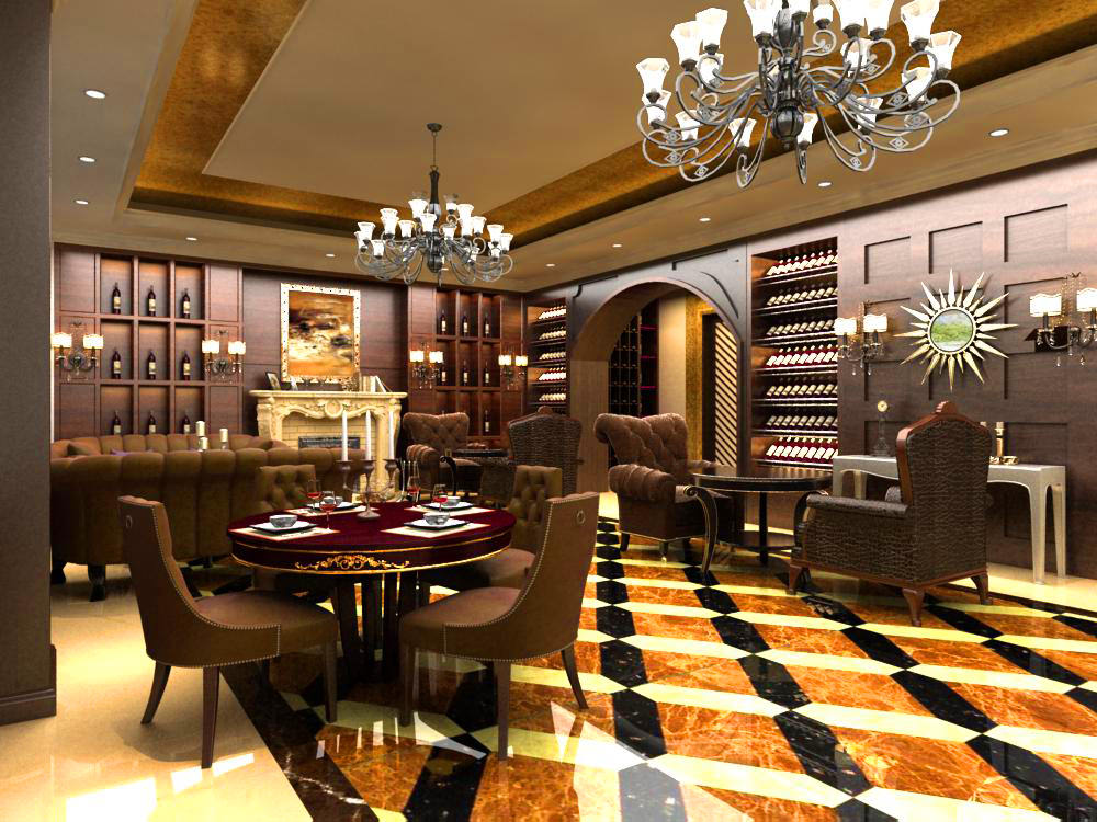 High-end Restaurant with Luxury Floor 3D model CGTrader
