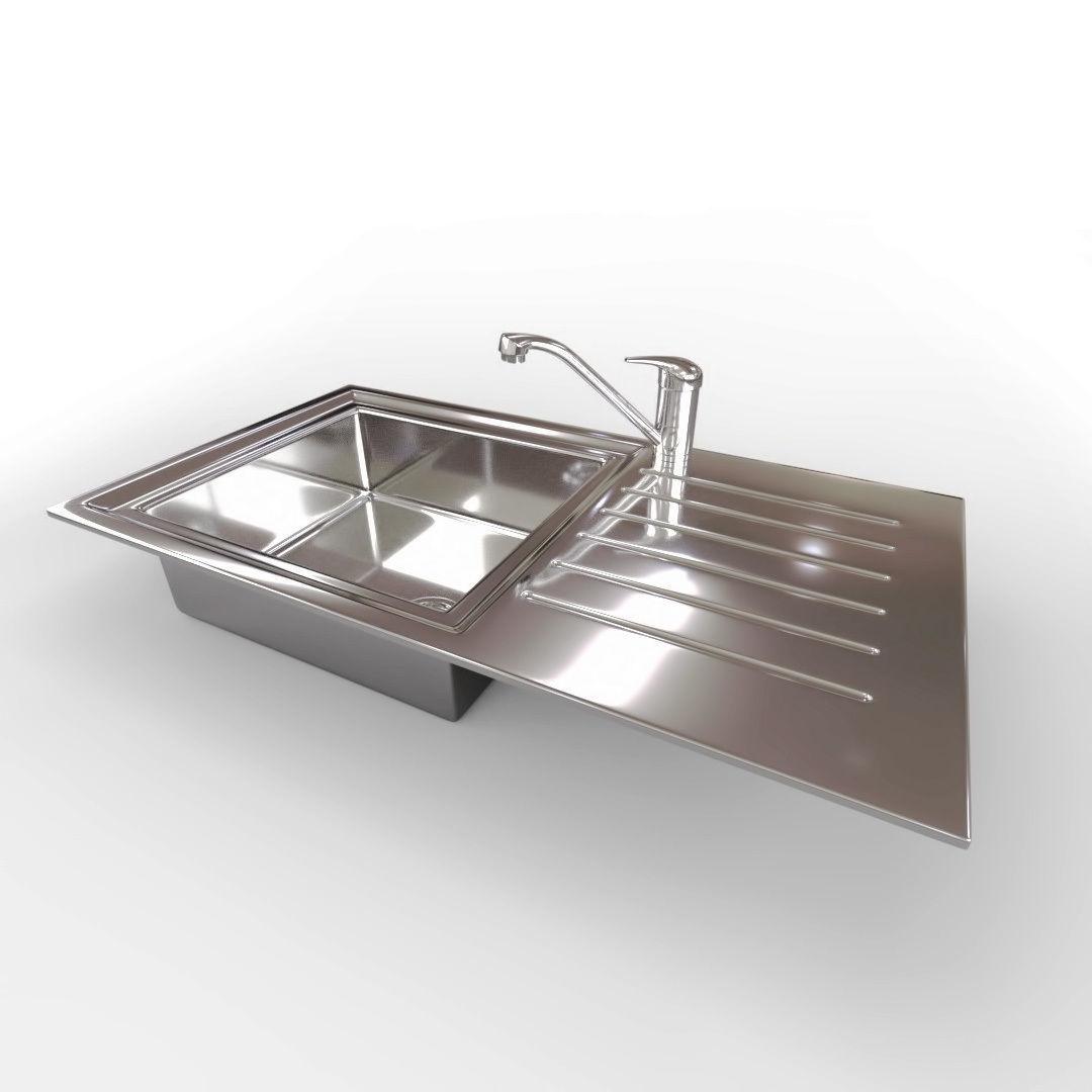 kitchen sink with mixer tap 3d model obj 3ds fbx dae