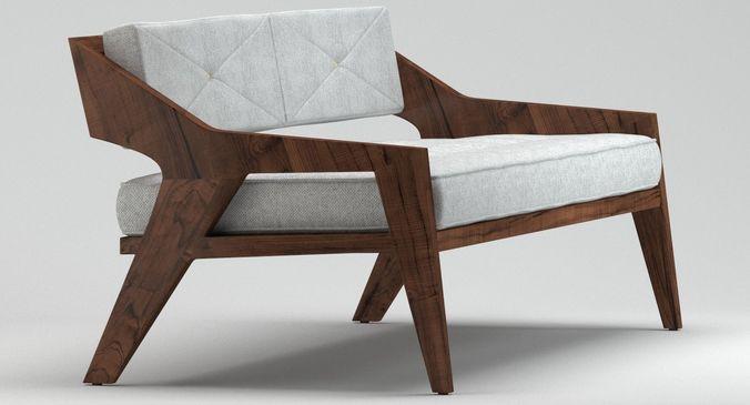 Outdoor Wooden Sofa 3d Cgtrader