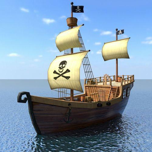 New Car Wallpaper 3d 3d Model Recreational Low Poly Cartoon Pirate Ship Textured