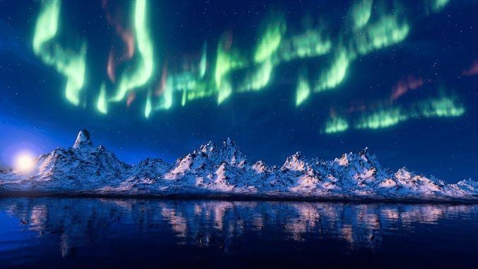 Blender 3d Wallpaper Mountain Aurora Borealis 3d Model Cgtrader