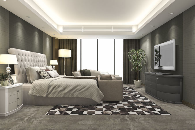 Luxury Modern Bedroom Suite In Hotel With Carpet 3d Model