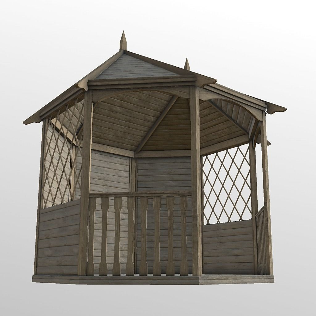 Metal Garden Gazebo Wood Garden Gazebo 3d Model