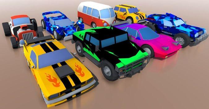 3D asset Low-poly cartoon cars CGTrader