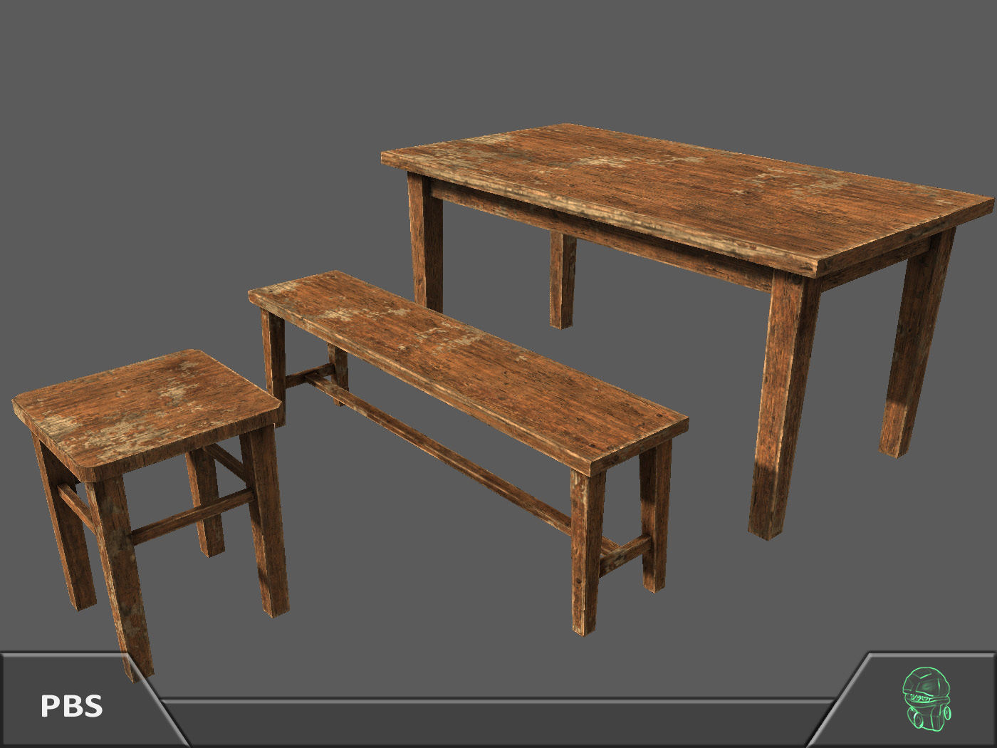Wooden Bench Table Wooden Bench Table Furniture Pack 3d Model