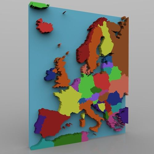 European Continent Map for 3ds and obj CGTrader