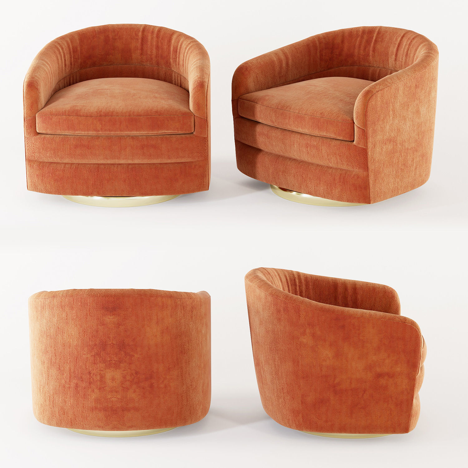 Tub Chairs Milo Baughman Swivel Tub Chairs For Thayer Coggin 3d Model