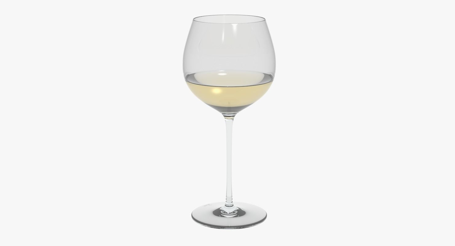 Chardonnay Wine Glass Glass Riedel Superleggero Oaked Chardonnay With Wine 3d Model