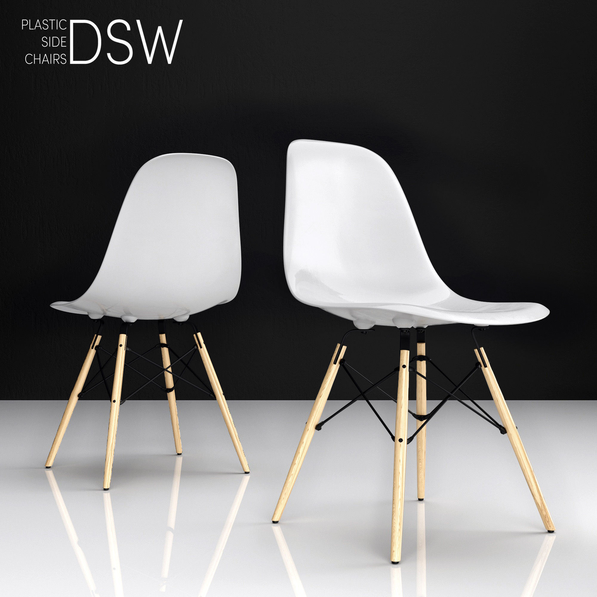 Eames Dsw Eames Dsw Plastic Side Chair 3d Model