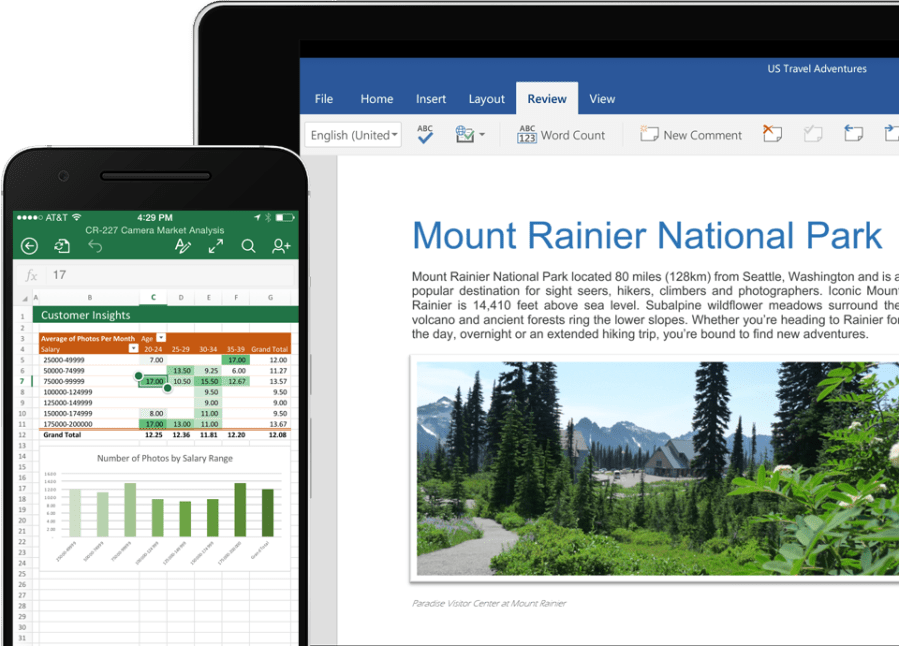 A phone displaying an Excel chart and a tablet showing a Word document about Mount Rainier
