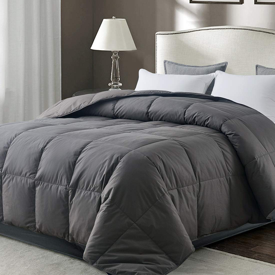 Whatsbedding Gray Goose Duck Down Comforter 100 Cotton Feather Comforter Lightweight Duvet Insert Twin 64x88