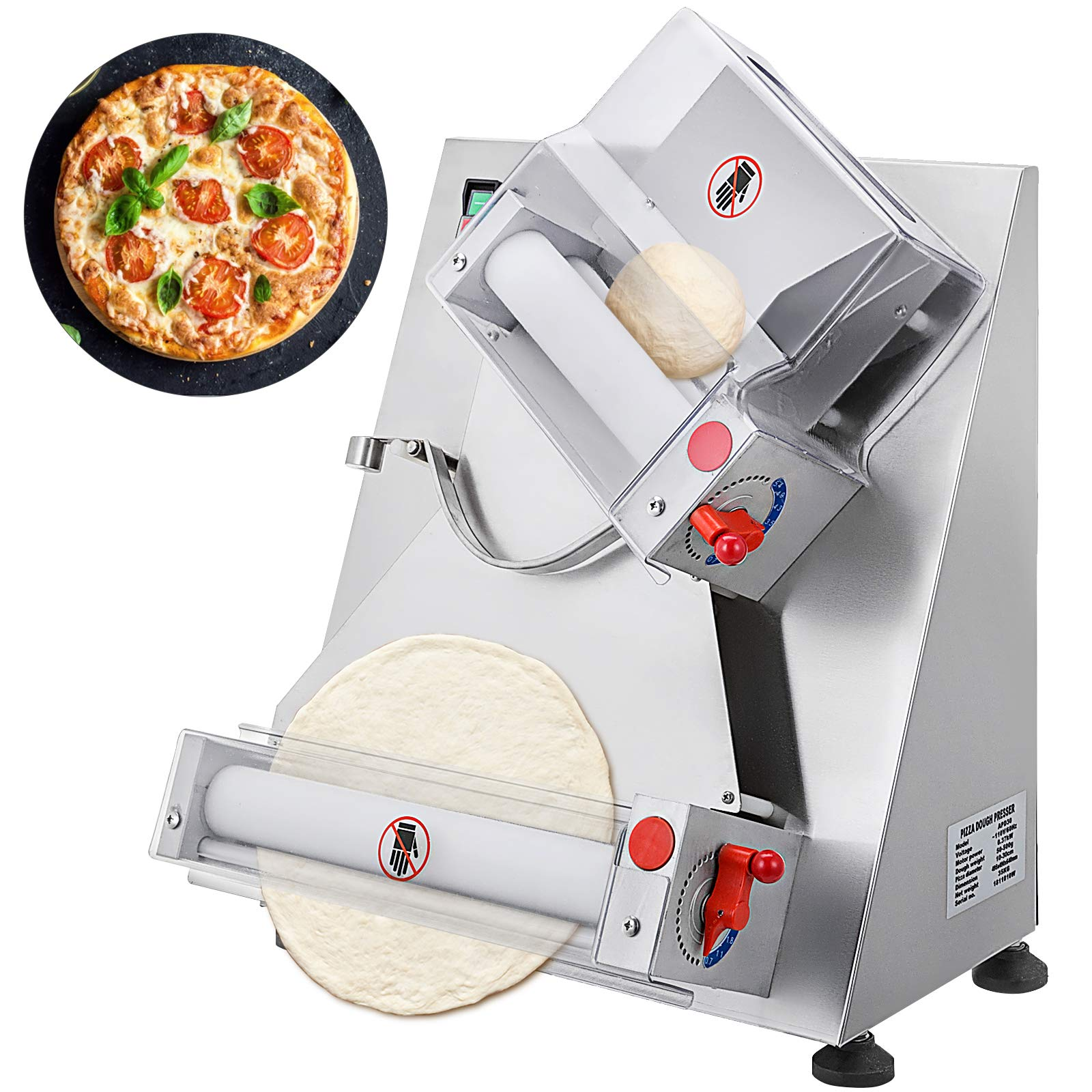 Vevor Commercial Dough Roller Sheeter 370w Automatically Suitable For Noodle Pizza Bread And Pasta Maker Equipment 11 8 Inch Silver