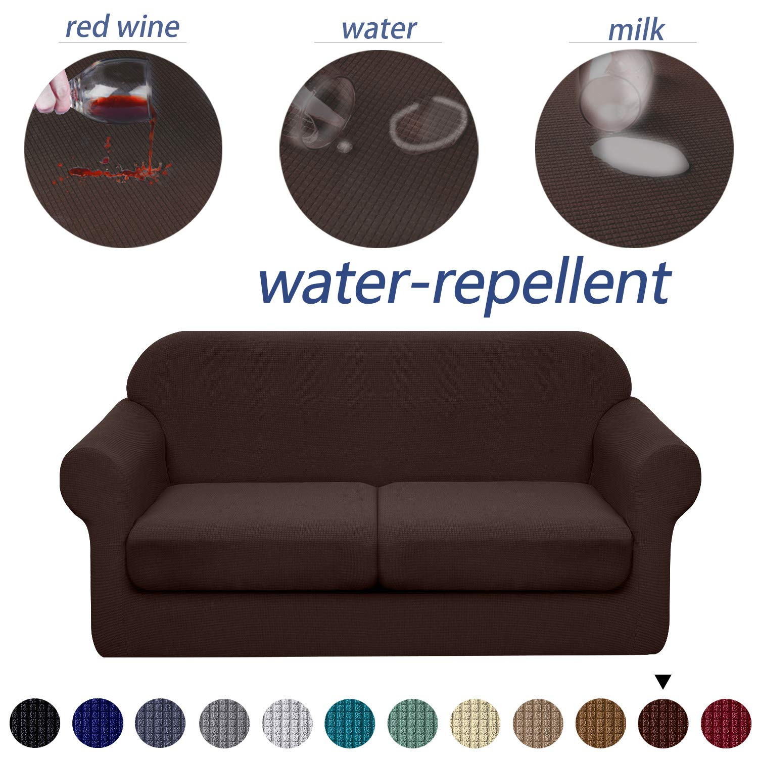 Granbest 3 Piece Premium Water Repellent Couch Slipcover For 2 Cushion Couch Super Soft Loveseat Sofa Covers High Stretch Separate Cushion Couch Covers For Dogs Furniture Cover Medium Chocolate