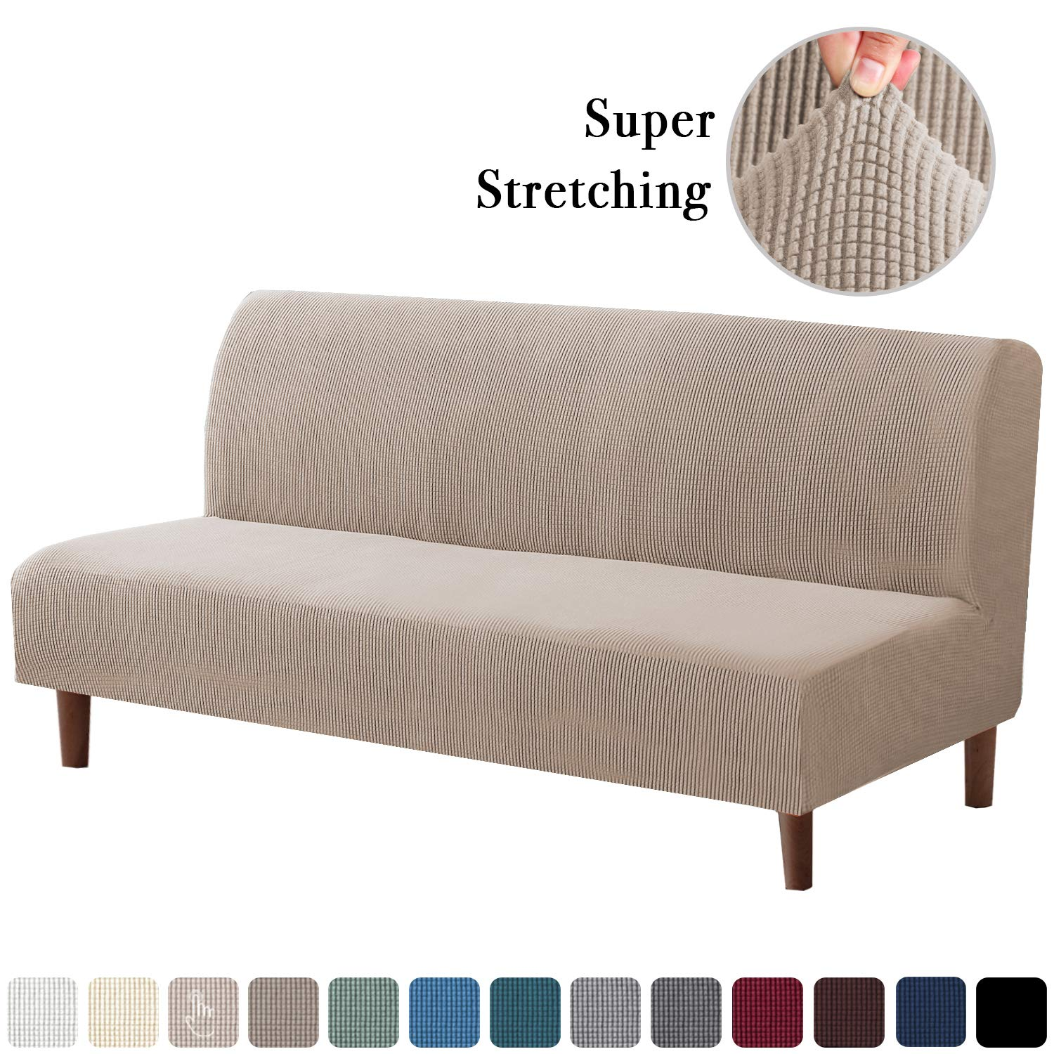 Stretch Armless Futon Covers Full Queen Futon Couch Covers Slipcover Futon Sofa Cover Futon Bed Cover Furniture Protector Covers With Elastic Bottom Soft Thick Jacquard Washable Sand