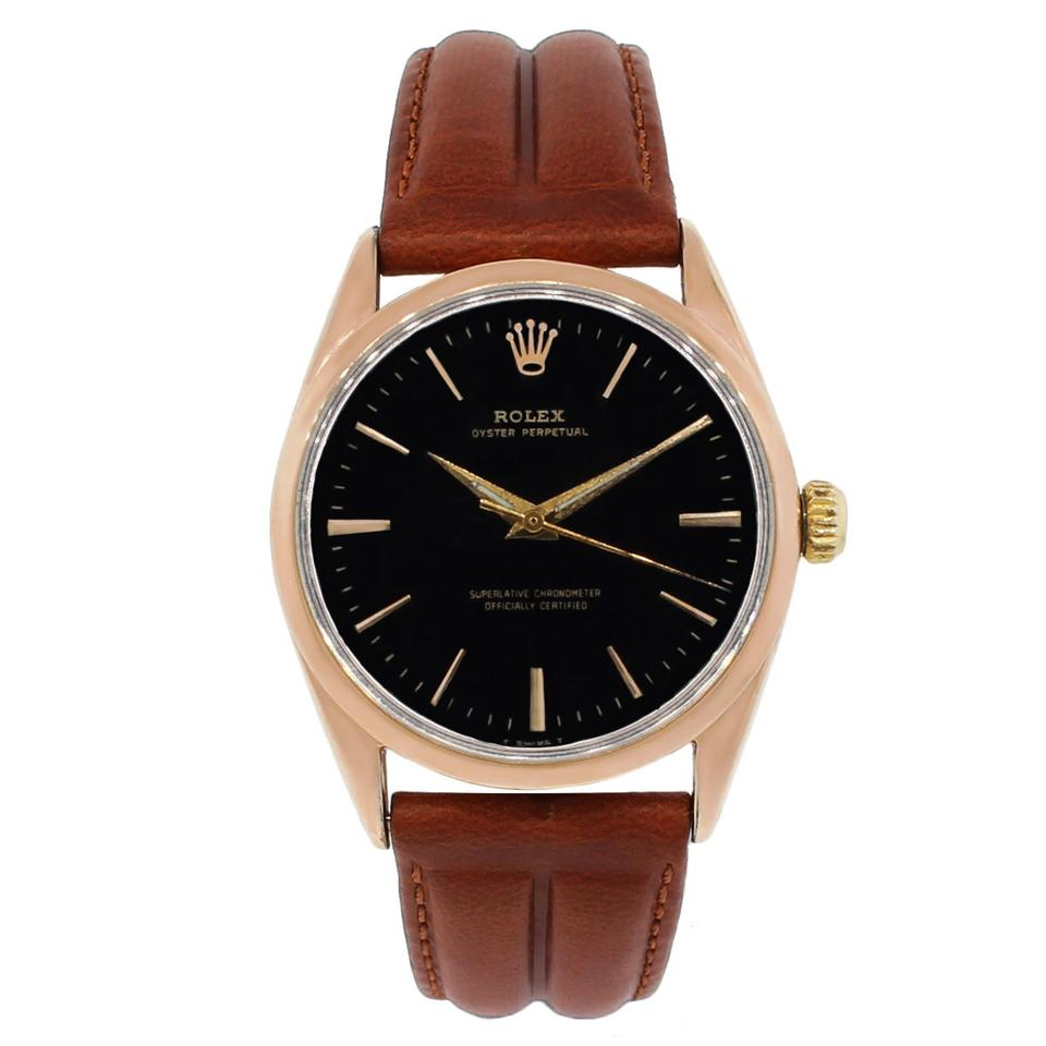 Rolex Oyster Perpetual Rose Gold Rolex Rose Brown Yellow 1025 14k Gold Shell Oyster Perpetual Leather Watch 25 Off Retail