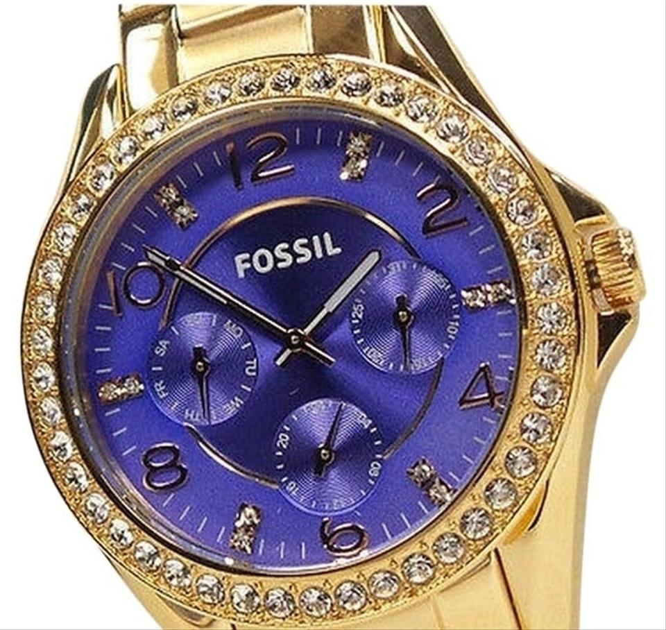 Fossil Riley Fossil Riley Purple Day Date Glitz Dial Rose Gold Steel Women Watch 20 Off Retail