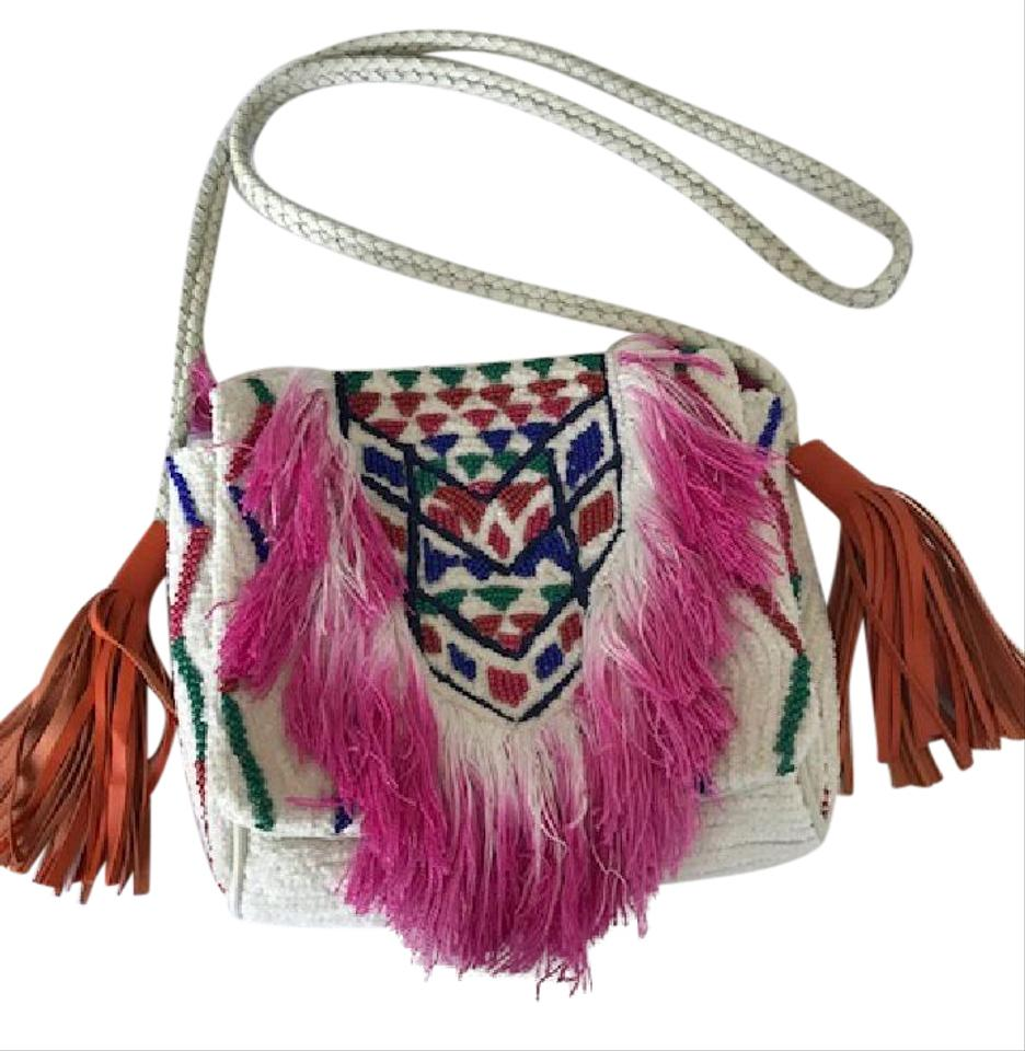 Antik Design Antik Batik Handbag White With Orange Leather Fringes And Multi Color Beads Design 50 50 Cotton Cross Body Bag 33 Off Retail