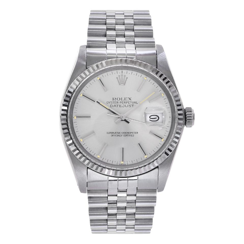 Steel Rolex Rolex Silver Dateust 36 Stainless Steel 18k White Gold Dial Watch