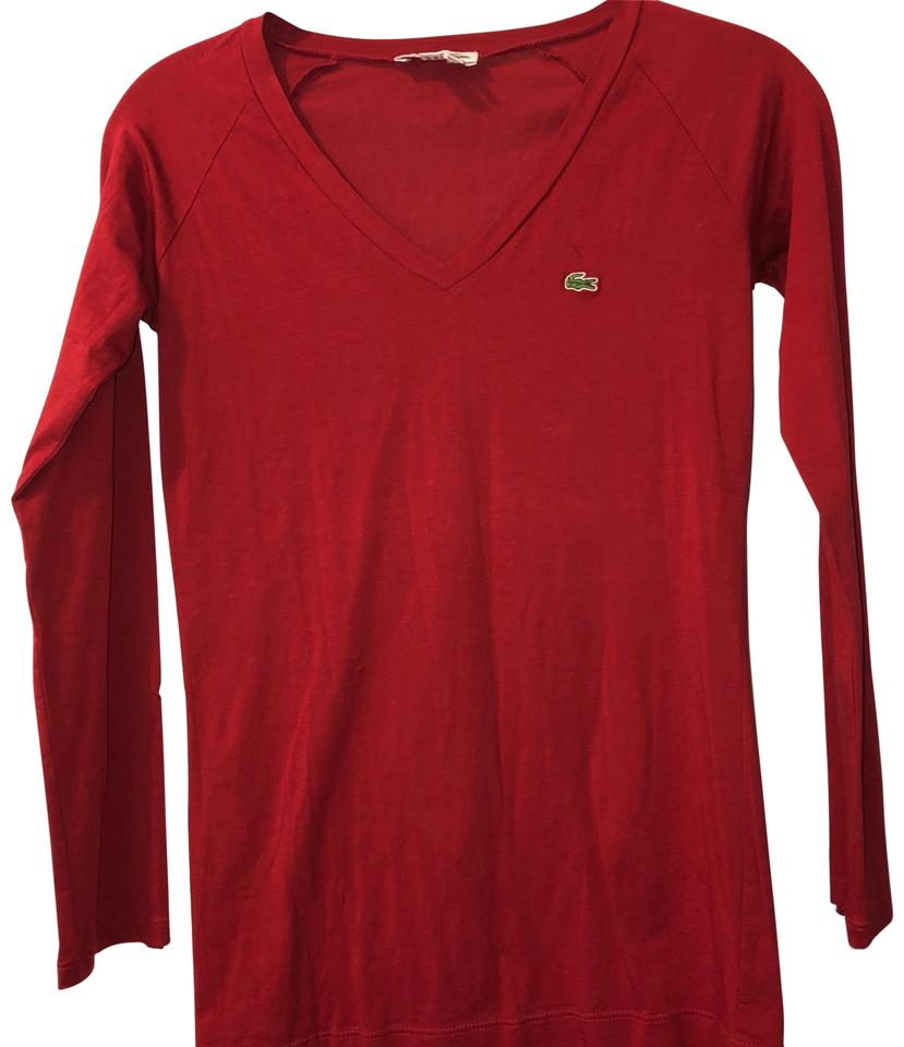 Xs Long Lacoste Red Long Sleeve S Tee Shirt Size 2 Xs 65 Off Retail