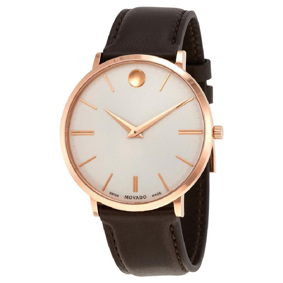 Leather Strap Rose Gold Watch Movado White Brown Rose Gold Ultra Slim Dial Leather Strap Men S Watch 10 Off Retail