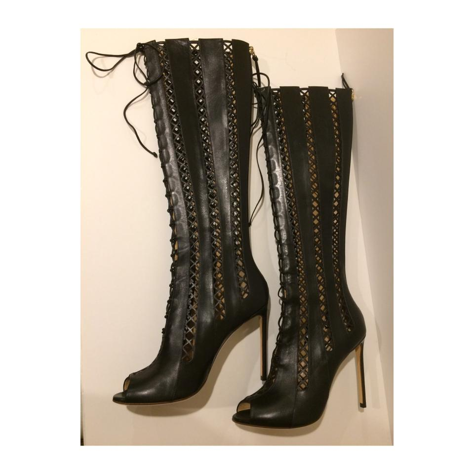 Francesco&#39 Francesco Russo Black New Peep Toe Lace Up Over The Knee Leather Boots Booties Size Eu 39 Approx Us 9 Regular M B 68 Off Retail