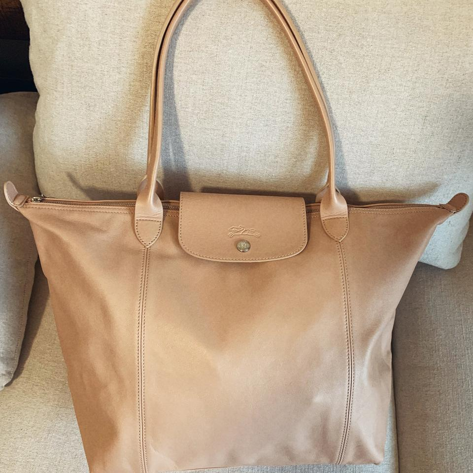 Leather Cuir Longchamp Le Pliage Cuir Gold Beige Leather Tote 21 Off Retail